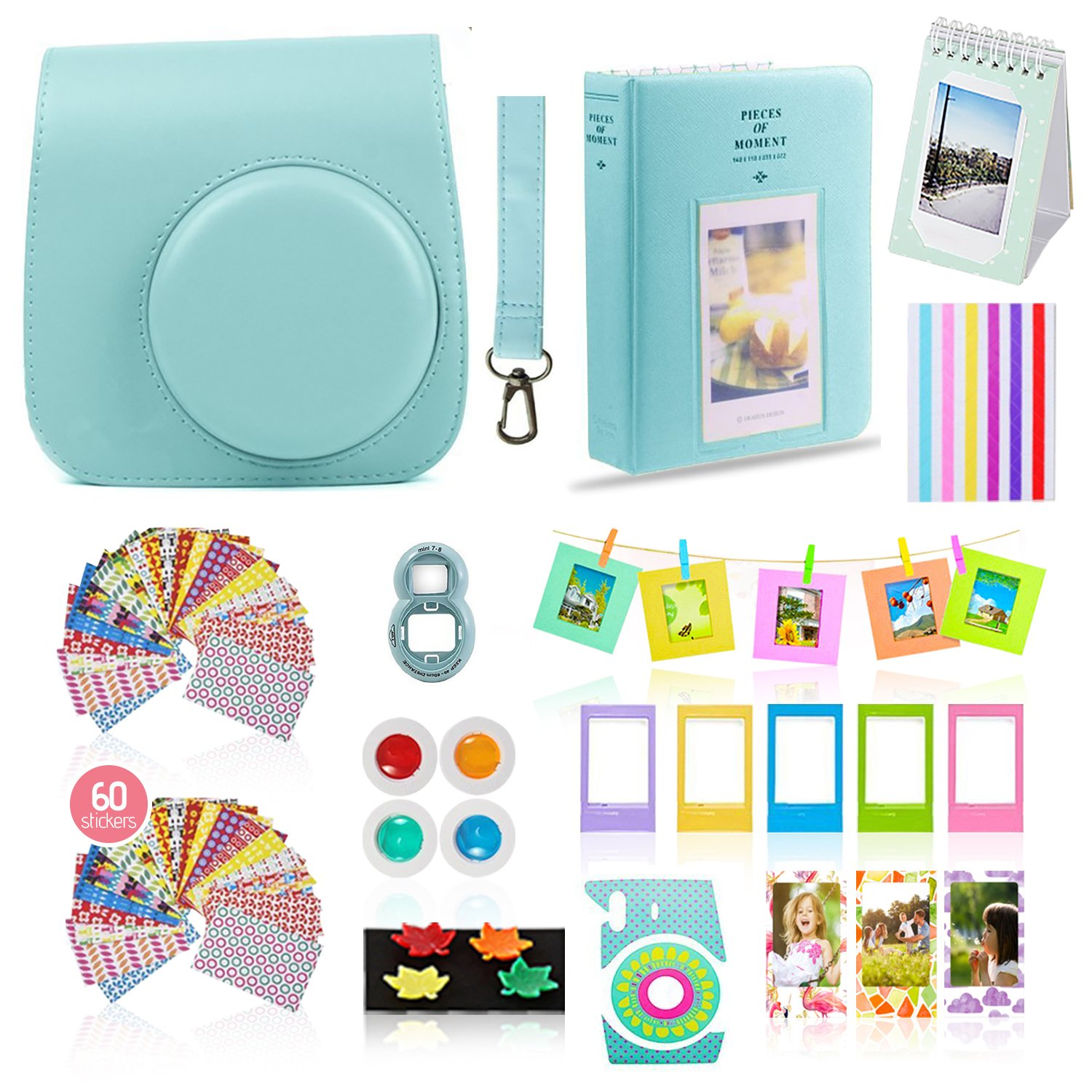 Fujifilm Instax Mini 9 Camera Accessories Bundle, ICE BLUE Instax Mini Case, 14 PC Kit Includes: 2 Photo Albums, Color Filter, Selfie lens, Magnets + Hanging + Creative Frames, 60 stickers, Gift Set by Shutter