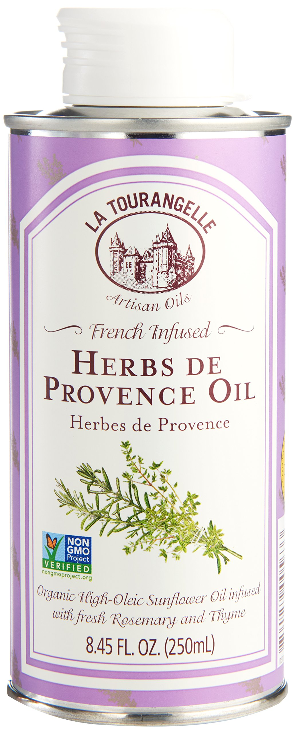 La Tourangelle Herbs De Provence Infused Sunflower Oil 8.45 Fl. Oz, Sunflower Oil Infused with Fresh Rosemary and Thyme for Cooking and Seasoning