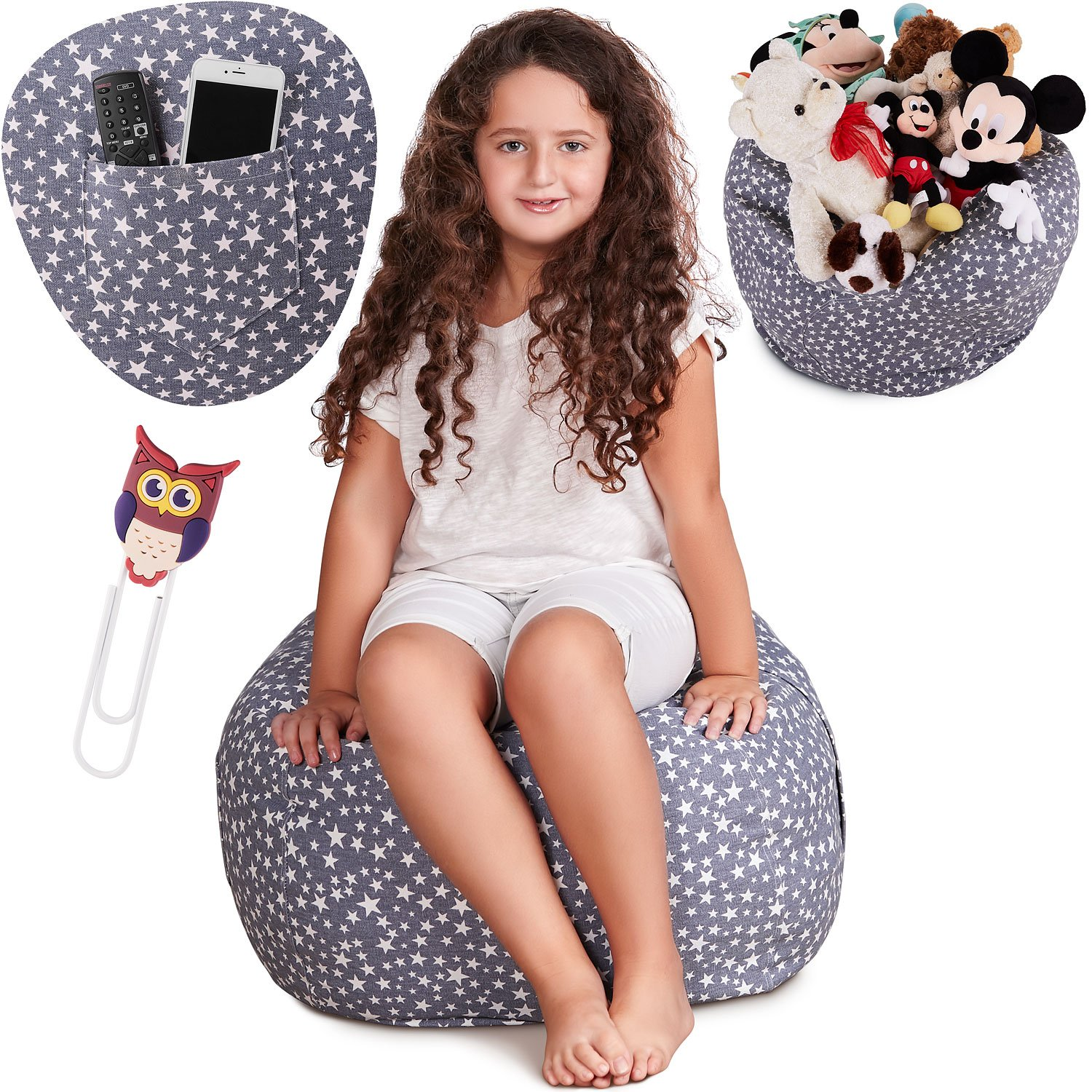 Premium Large Stuffed Animal Storage Bean Bag Chair, Free Bookmark and Pocket, Unisex, Multipurpose Storage, Perfect Decorative Kid's Room, Playroom Toy Organizer, Replace Your Mesh Toy Hammock or Net