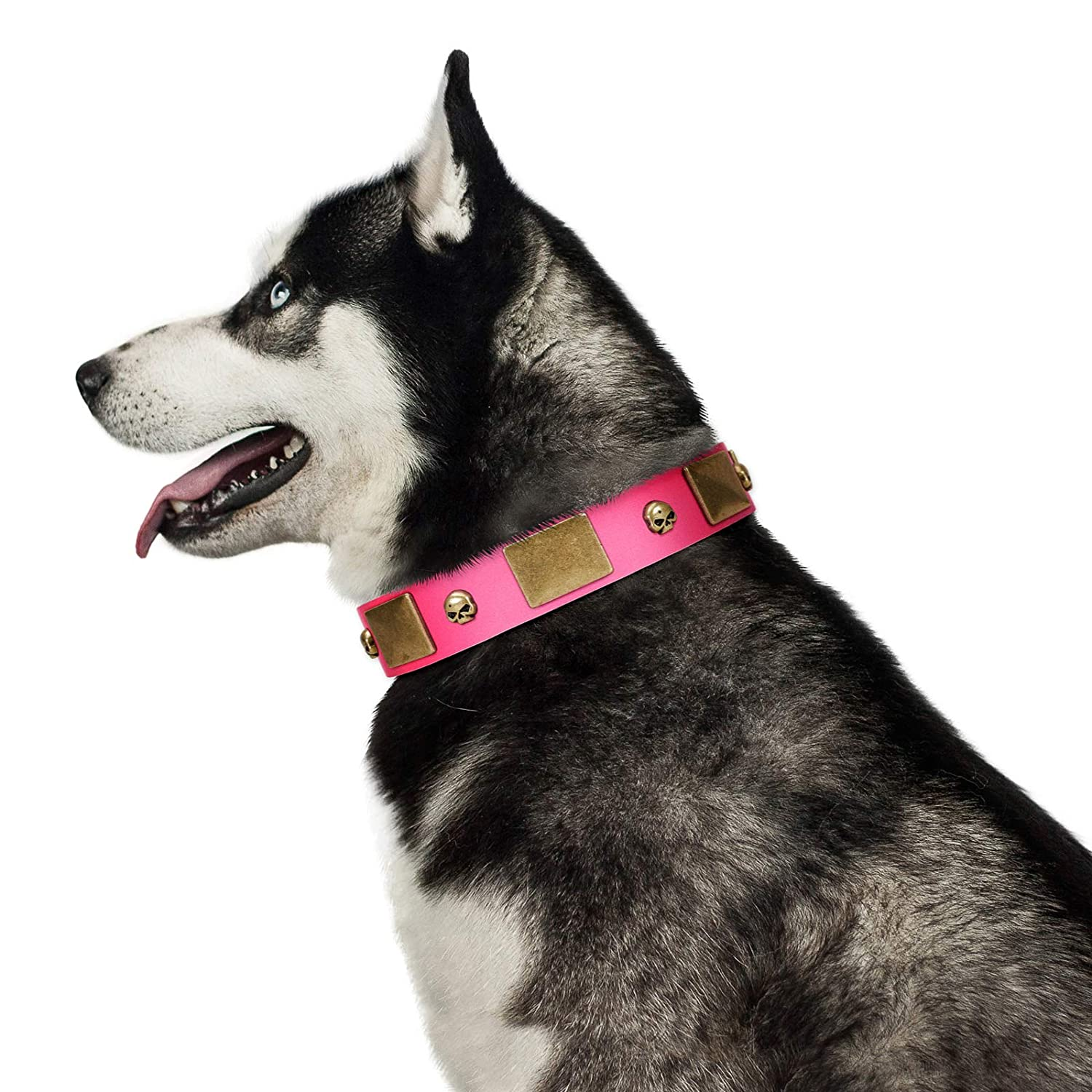Fits for 23 inch (58cm) dog's neck size FDT Artisan 23 inch Glammy Voyage Pink Leather Dog Collar with Silvery and goldish Decorations Exclusive Handcrafted Item 1 1 2 inch (40 cm) Wide Gift Box Included