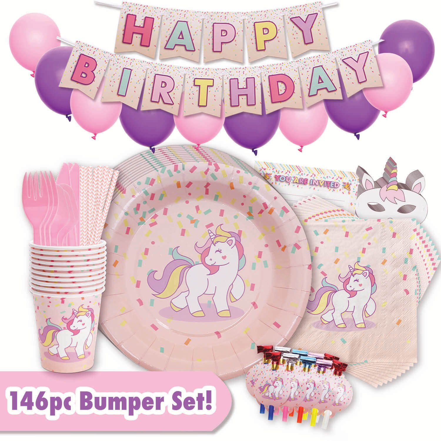 Unicorn Party Supplies Deluxe Set - 146pc Expanded Set - Everything Needed For A Magical Birthday - Unicorns on Plates, Cups, Cutlery, Cupcake Toppers, Napkins & Much More - Decorations Set Serves 10