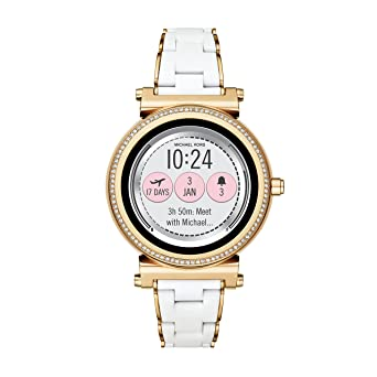 6afa9d8d164 Michael Kors Access Women s Smartwatch Sofie Gold-Tone Stainless Steel with  White Silicone MKT5039