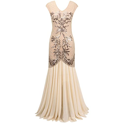 PrettyGuide Women 1920s Long Gown Black Sequin Flapper Formal Prom Dress