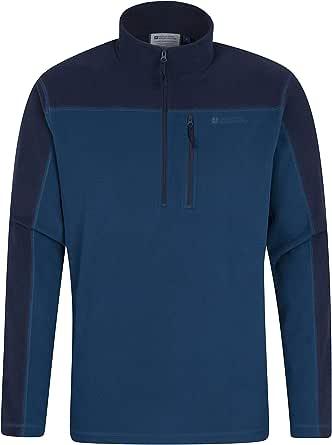 Mountain Warehouse Argyle Suéter de vellón con Cremallera Media para Hombre - Secado rápido, Transpirable, Microfibra Antibolitas, Bolsillo en el Pecho, para Clima frío, Invierno