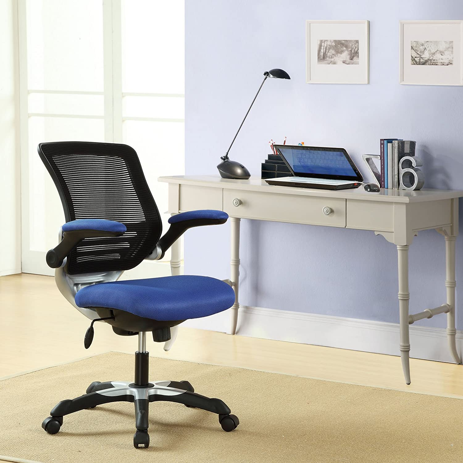 Desk chair kitchen - Amazon Com Modway Edge Mesh Back And Blue Mesh Seat Office Chair With Flip Up Arms Ergonomic Desk And Computer Chair Kitchen Dining