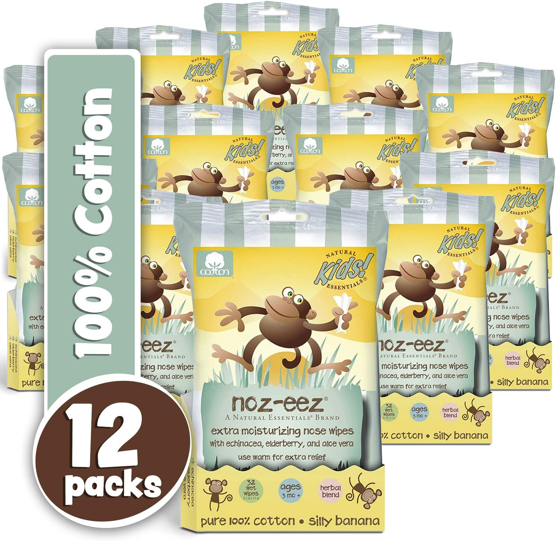 Natural Essentials Noz-eez, Moisturizing Nose Wipes w/ Echinacea, Eldeberry & Aloe, Silly Banana Fragrance, 32-Count (12)