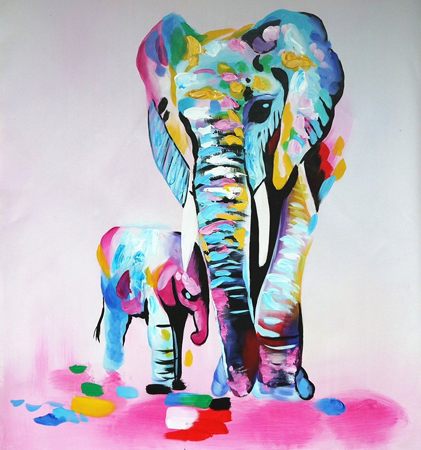 Oil Painting Elephant Hand Painted Animal Pictures ''Mother Love'' Modern Home Decor Wall Art Canvas Painting For Home Office 20x20inch (50x50cm)