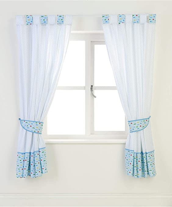 Mothercare On The Road Range Nursery Curtains Blue White 168 X 137cm With Tie Backs Amazon Co Uk Kitchen Home
