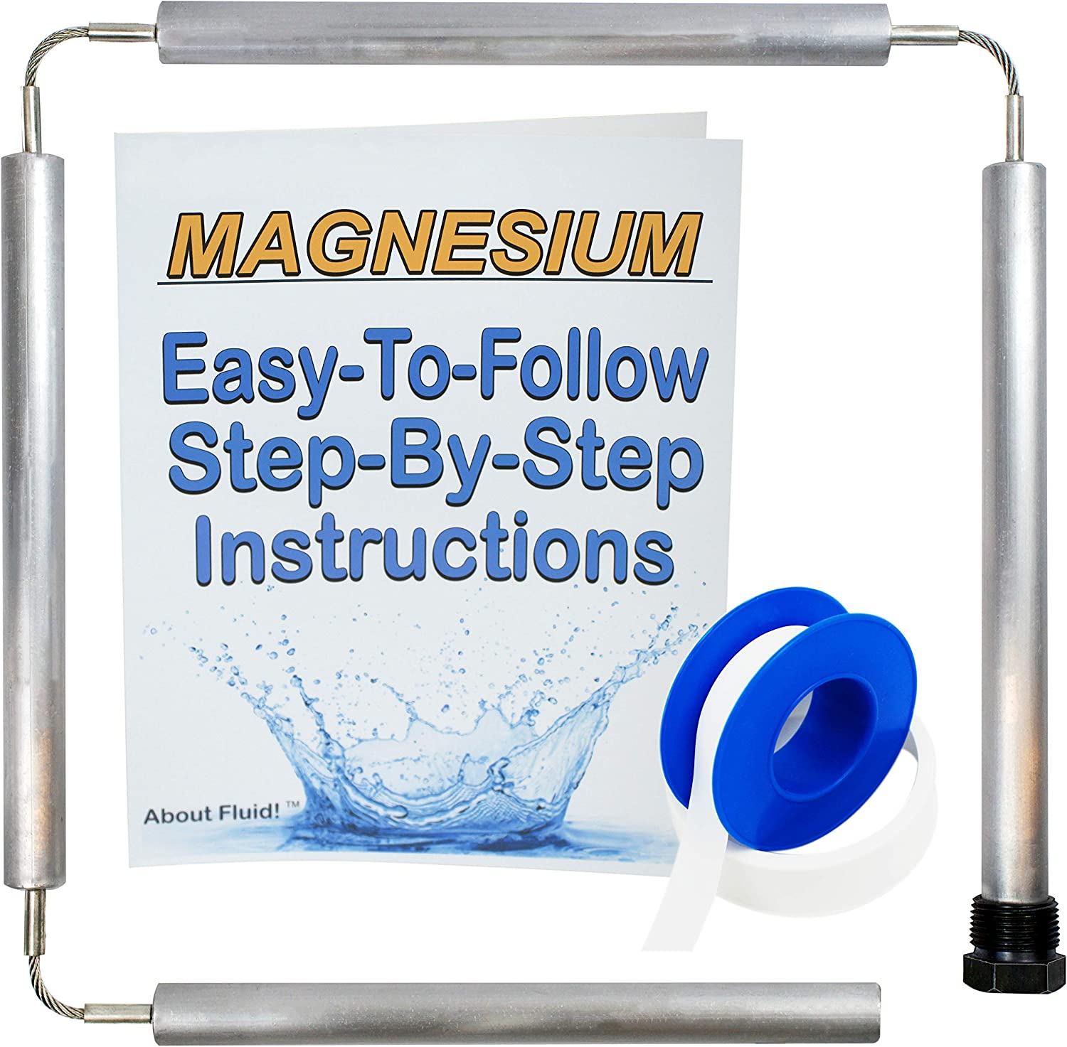 About Fluid | Magnesium Flexible Anode Rod Kit for Water Heaters | Teflon Tape | Easy-to-Follow, Step-by-Step Instructions | 44 Inches Long. (Without Socket and Cap)