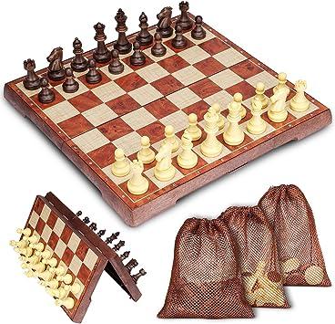 Muscccm Tablero de ajedrez, Juego de Ajedrez 2 en 1 Magnético de ...