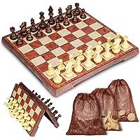 Muscccm Schachspiel, Schachspiel mit Aufbewahrungsbeutel Magnetischem Einklappbar Schachspiel für Kinder, Geburtstag