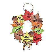 Fun Express Wreath of Thanks Foam Craft Kit - - Fall Thanksgiving Craft Kits - 12 Pack