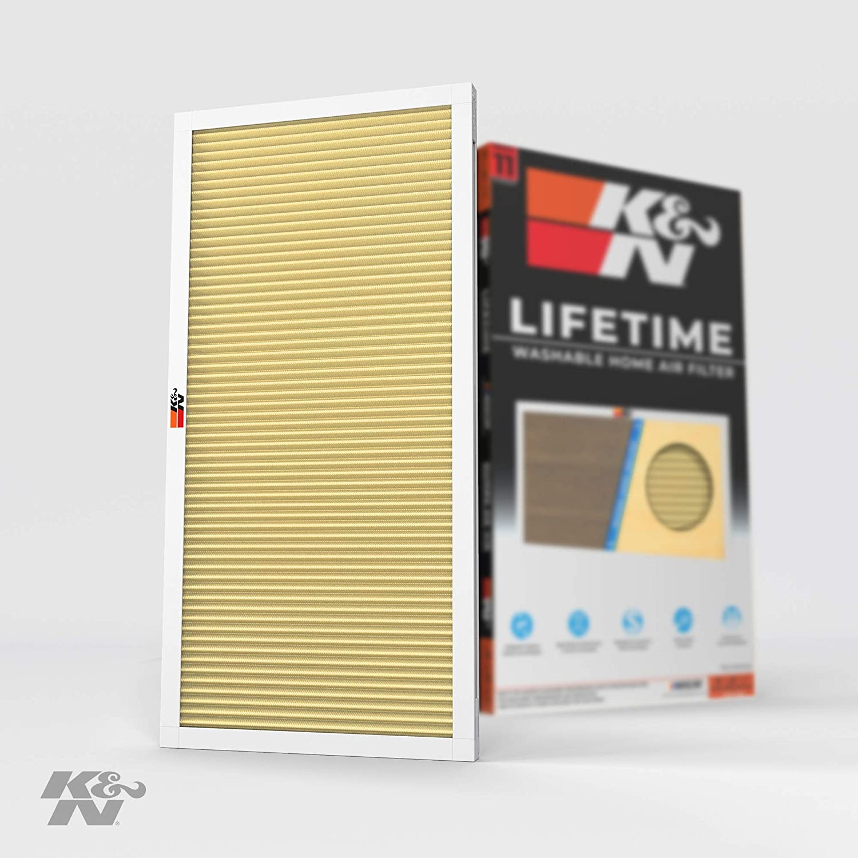 K&N 12x24x1 AC Furnace Lifetime Washable MERV 11 Filters Allergies, Pollen, Smoke, Dust, Pet Dander, Mold, Smog, and More Breathe Clean Fresh Air, 12x24x1