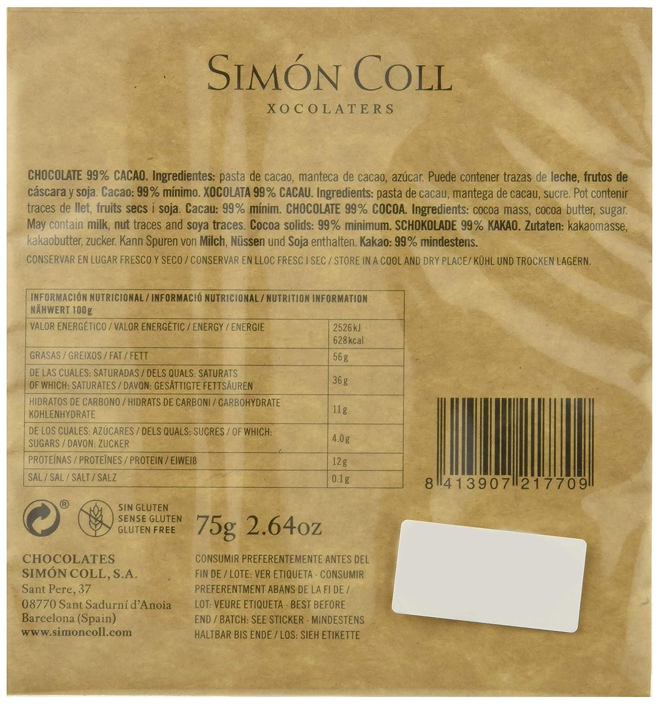 Chocolates Simón Coll Chocolate 99% Cacao - 16 Unidades: Amazon.es: Alimentación y bebidas
