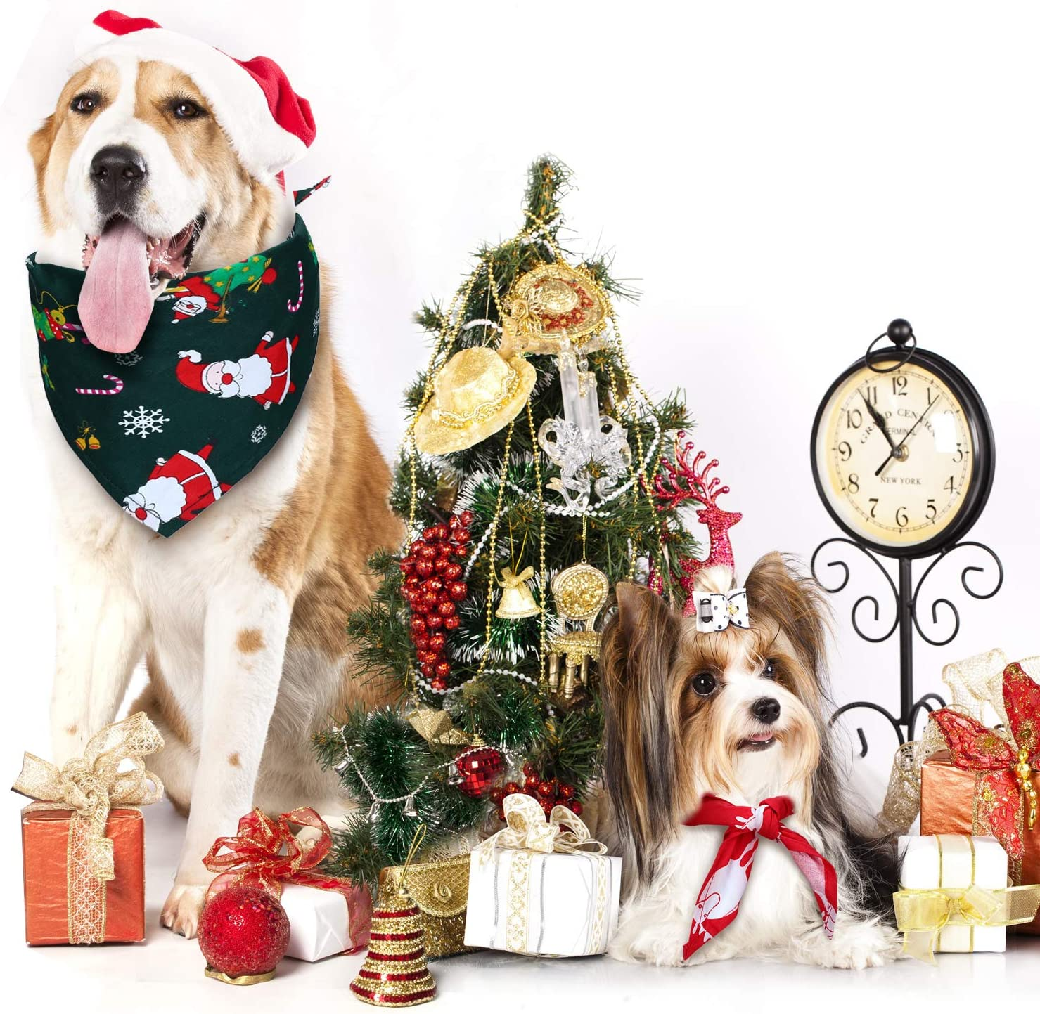 Frienda 3 Pieces Christmas Dog Bandanas Thanksgiving Pet Bandana Halloween Pet Scarf Neckerchief Washable Dog Bibs for Dog and Cat
