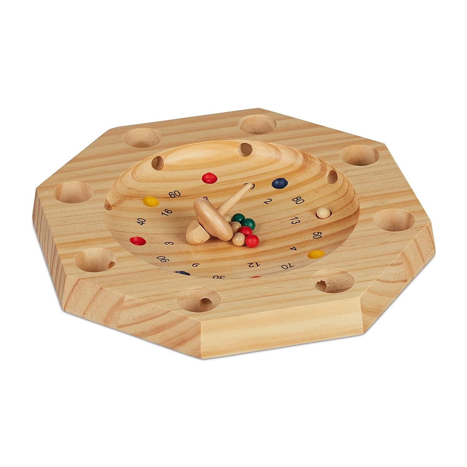 Maths Natural Wood Children /& Adults 16 Holes Relaxdays Tyrolean Roulette Octagonal Wooden Game HxW: 3x28 cm