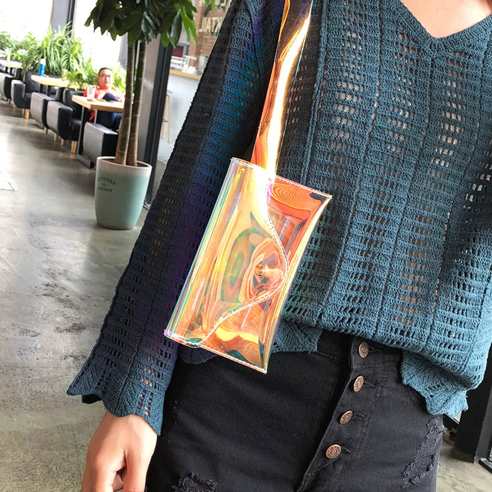 LinLink Nouveau Chaud 2019 Sacs Banane Transparente D/écoloration Pochette Enveloppe Mignon Chic Rabat Sacs de Taille de Plage /Étanche Avec Ceinture R/églable et Boucle de or Grande Unisexe Sport