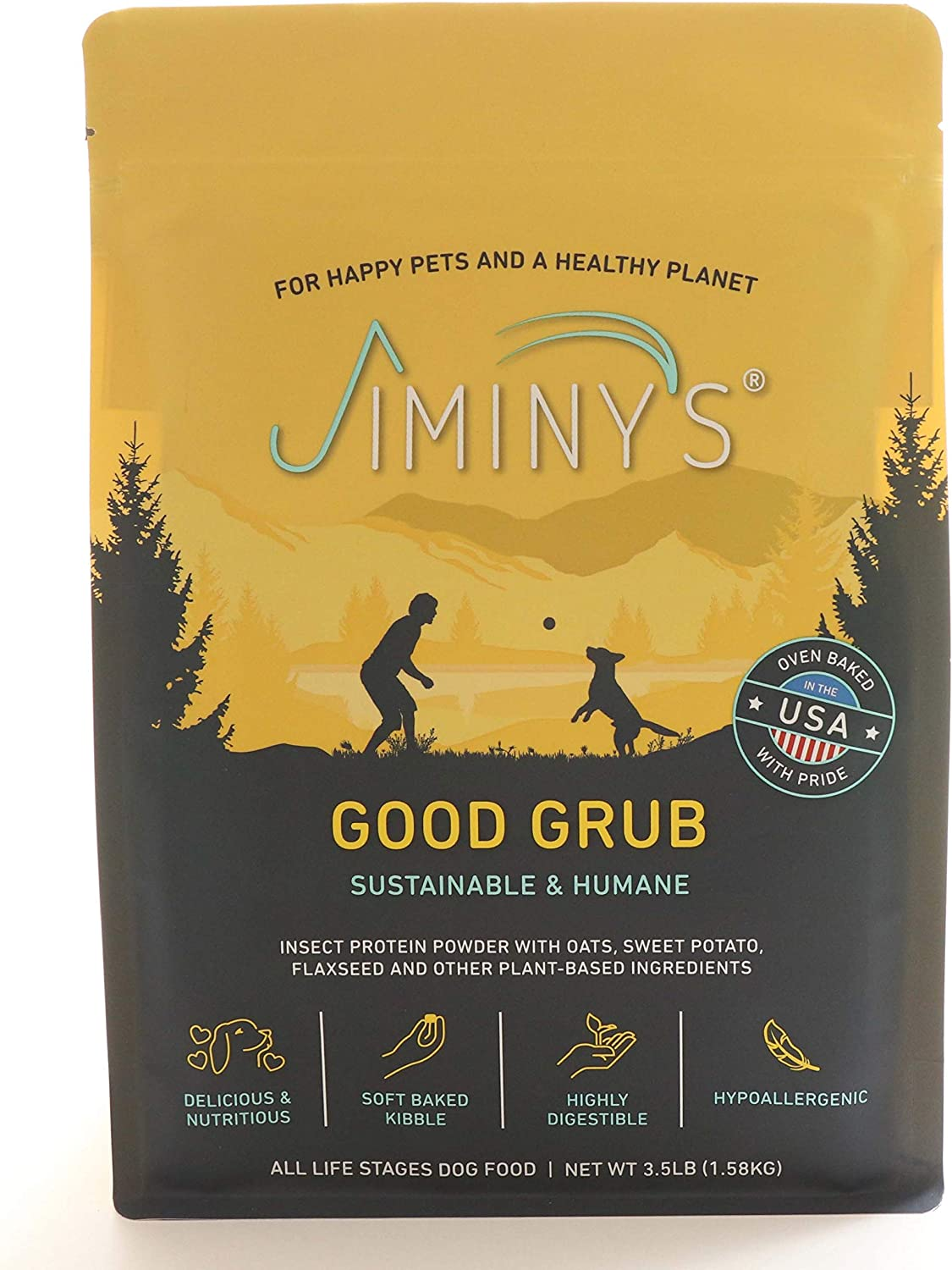Jiminy's Good Grub Insect Protein Oven-Baked Dog Food 3.5 lb Bag   100% Made in The USA   Gluten-Free   Sustainable   Limited Ingredients   High Protein   Hypoallergenic