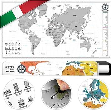 benehacks Mapa del Mundo en Italiano Tipo póster para rascar SIGA Sus Aventuras de Viaje en un Mapa detallado del Mundo - Mapamundi Plata/Blanco - 84 x 44 cm: Amazon.es: Juguetes y juegos