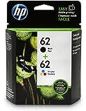 HP 62 Black & Tri-color Original Ink Cartridges, 2 Cartridges (N9H64FN)