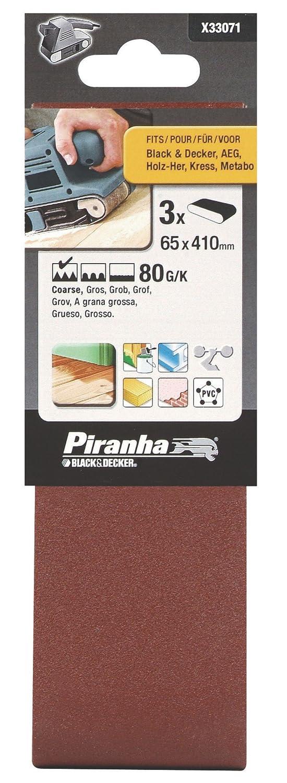 Black+Decker X33071-XJ - 3 Bandas de lija. 65 x 410 mm. Grano 80. Madera, pintura, barniz, yeso, metal y plá stico. Larga Duració n. metal y plástico. Larga Duración. Black&Decker