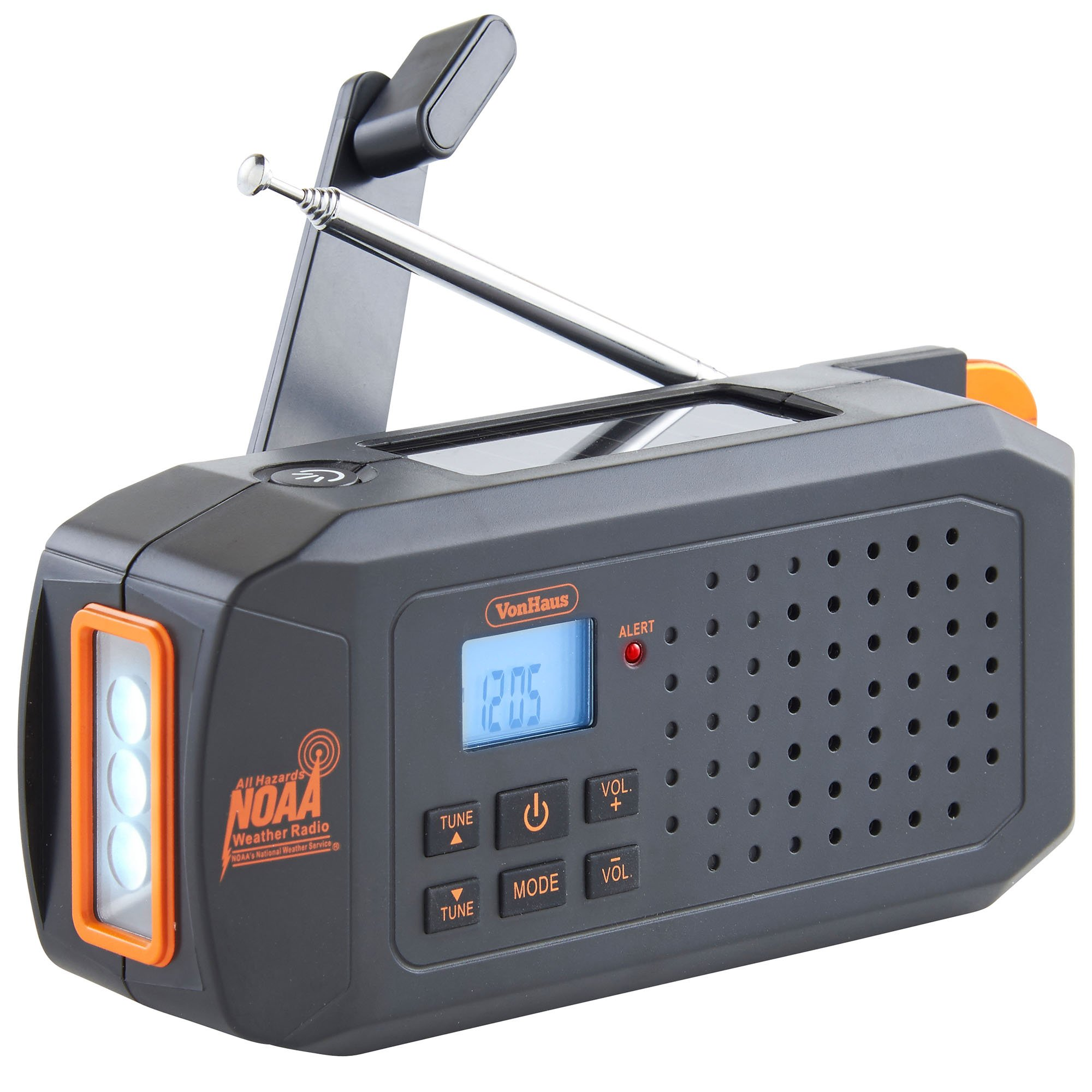 VonHaus NOAA Weather Channel Radio w/Solar, Dynamo Hand Crank & USB Charging: Portable Weather Radio AM/FM, 7 Weather Service Channels, Emergency LED Flashlight, Carabiner Clip & Cell Phone Charger by VonHaus