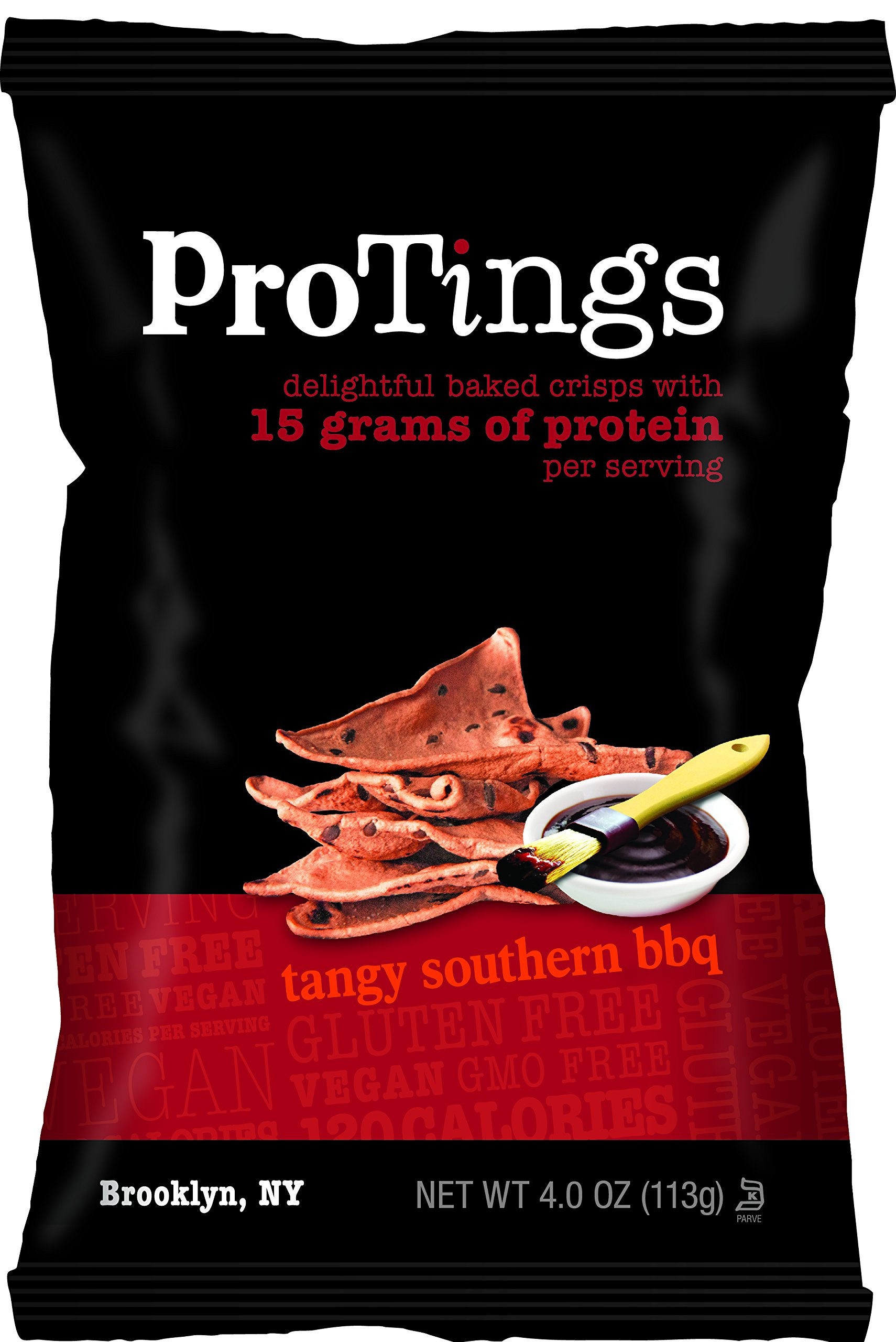 ProTings Protein Chips, Tangy Southern BBQ (4.0 oz), Multi-Serving Bags