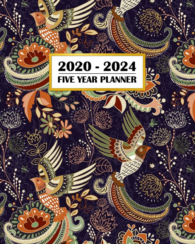 Persian Calendar 2022.Buy 2020 2024 Five Year Planner Beautiful Bird Of Paradise Pattern Persian Rug Design 60 Month Calendar And Log Book Business Team Time Management 5 Year 2020 2021