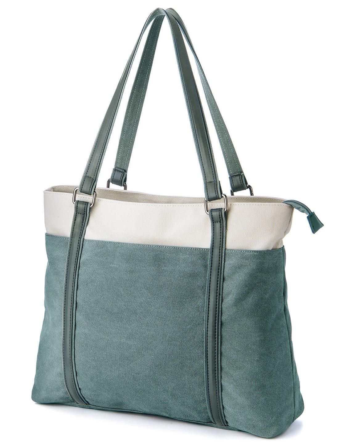 Laptop Tote Bag, GRM Canvas Shoulder Bag, Carrying Handbag for Laptop up to 15.6 inch, Travel Computer Business Office Work School, Green