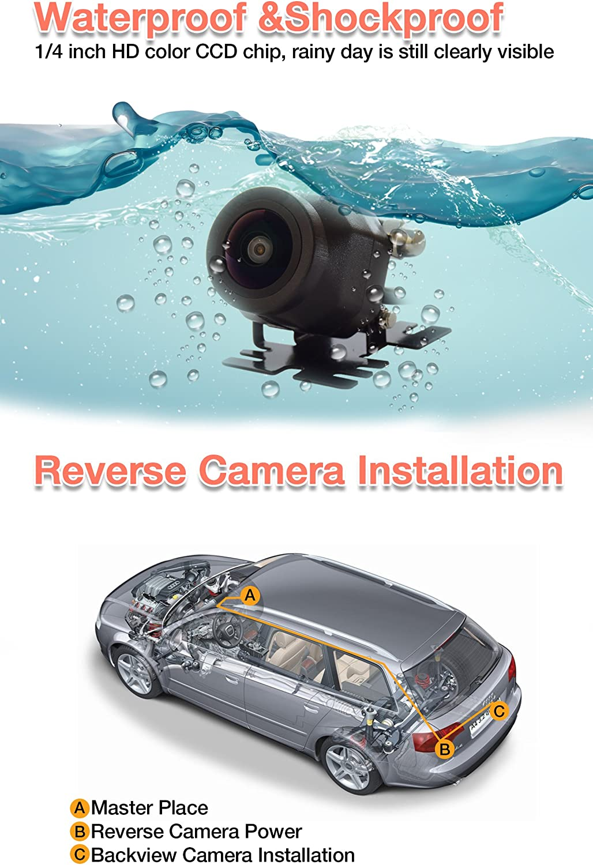 NOAUKA Waterproof Night Vision Car Rear View//Reverse//Backup Camera 160/° Degree Universal Color CMOS Back up Parking HD Front View Camera