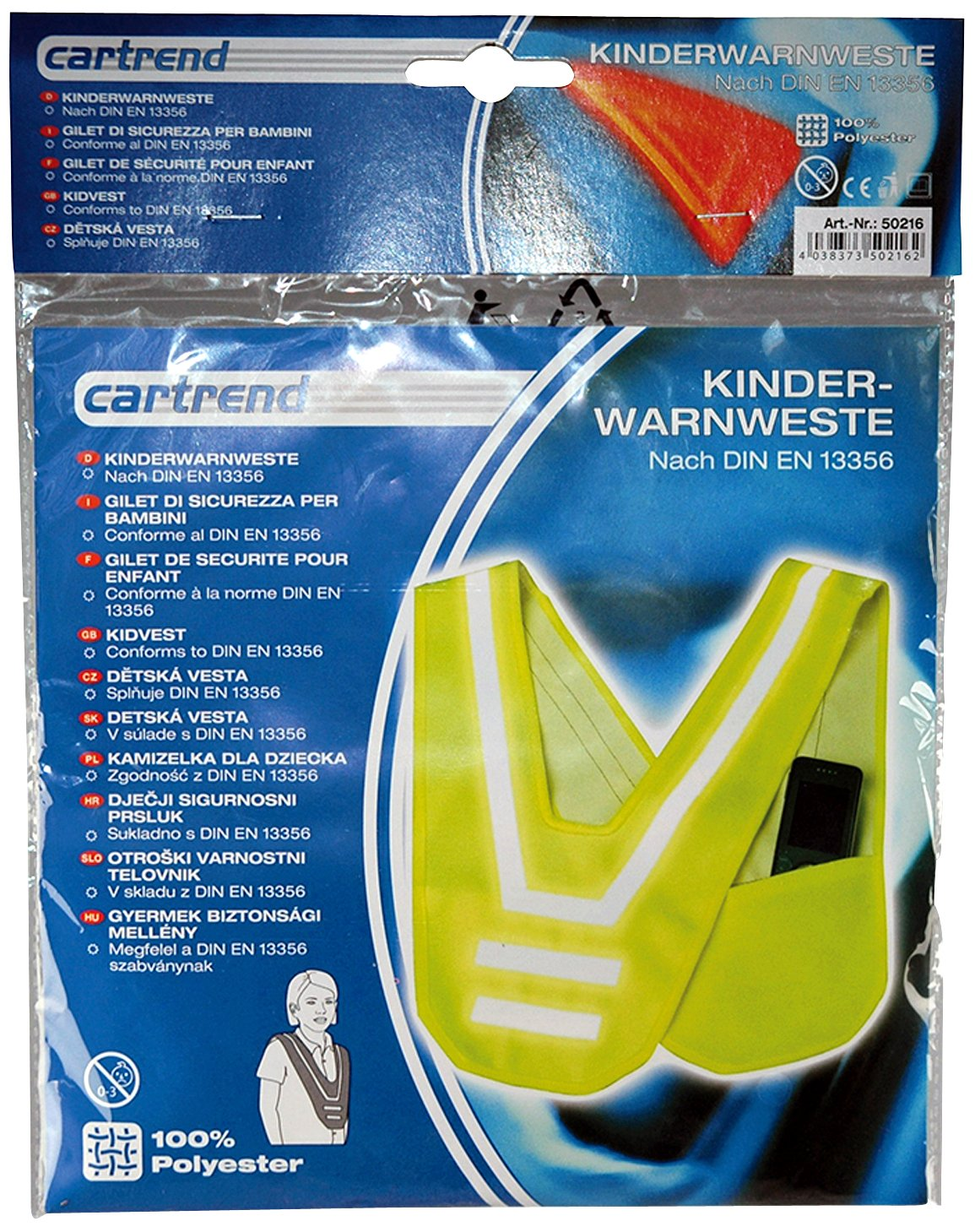Cartrend 50216 Chaleco de seguridad infantil en forma de V EN 13356