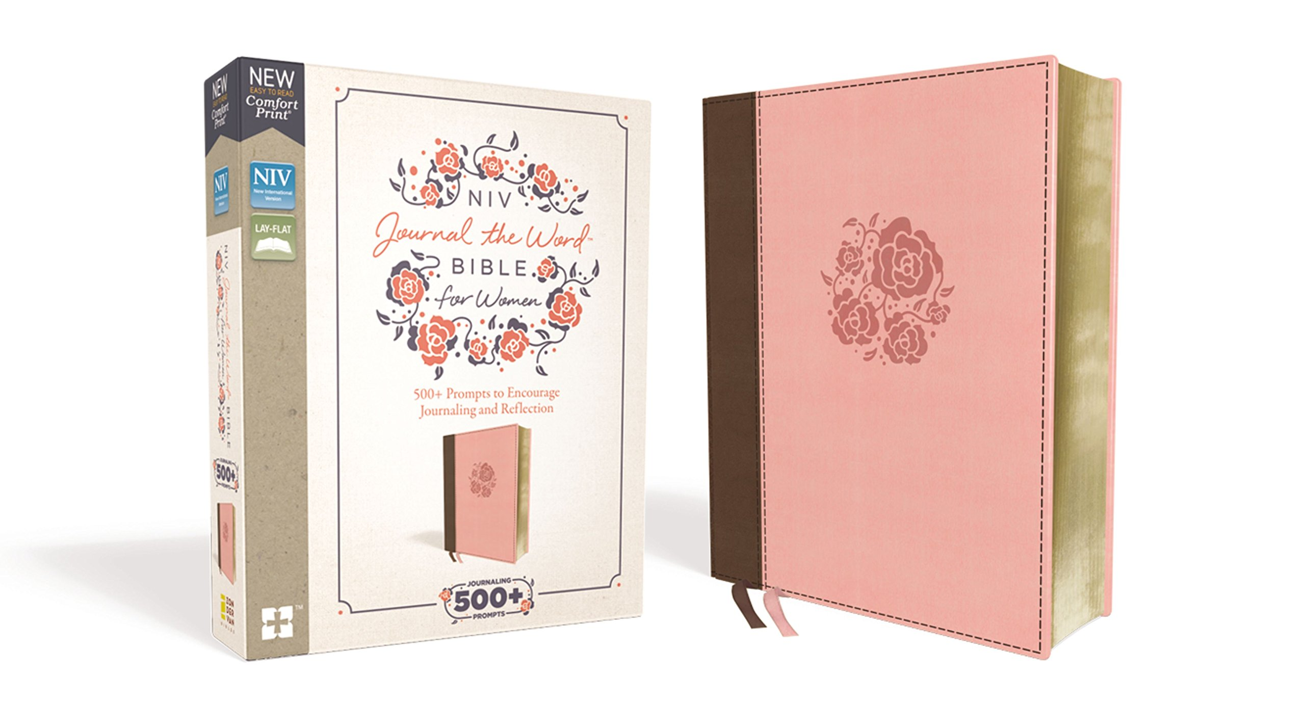 NIV, Journal the Word Bible for Women, Leathersoft, Brown/Pink, Red Letter Edition, Comfort Print: 500+ Prompts to Encourage Journaling and Reflection by HarperCollins Christian Pub.