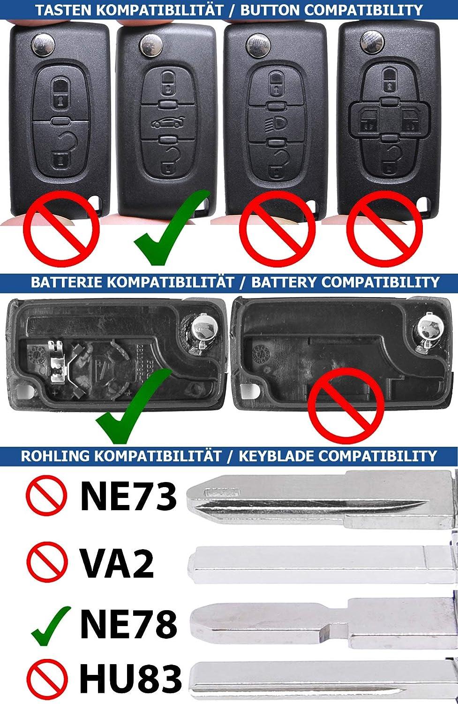 HU83 Blank PEUGEOT Kit di riparazione per auto Telecomando Chiave di ricambio per telecomando con 3 pulsanti Batteria per Peugeot Expert RCZ 308 207 307 Citroen C5