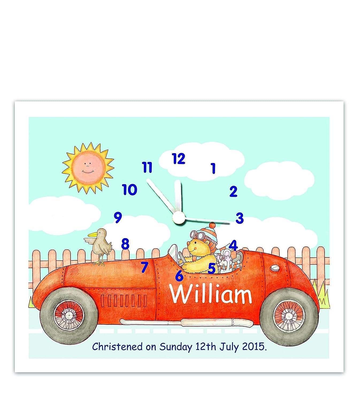 Personalised nursery/bedroom clock - Racing car design The Marmalade Cat