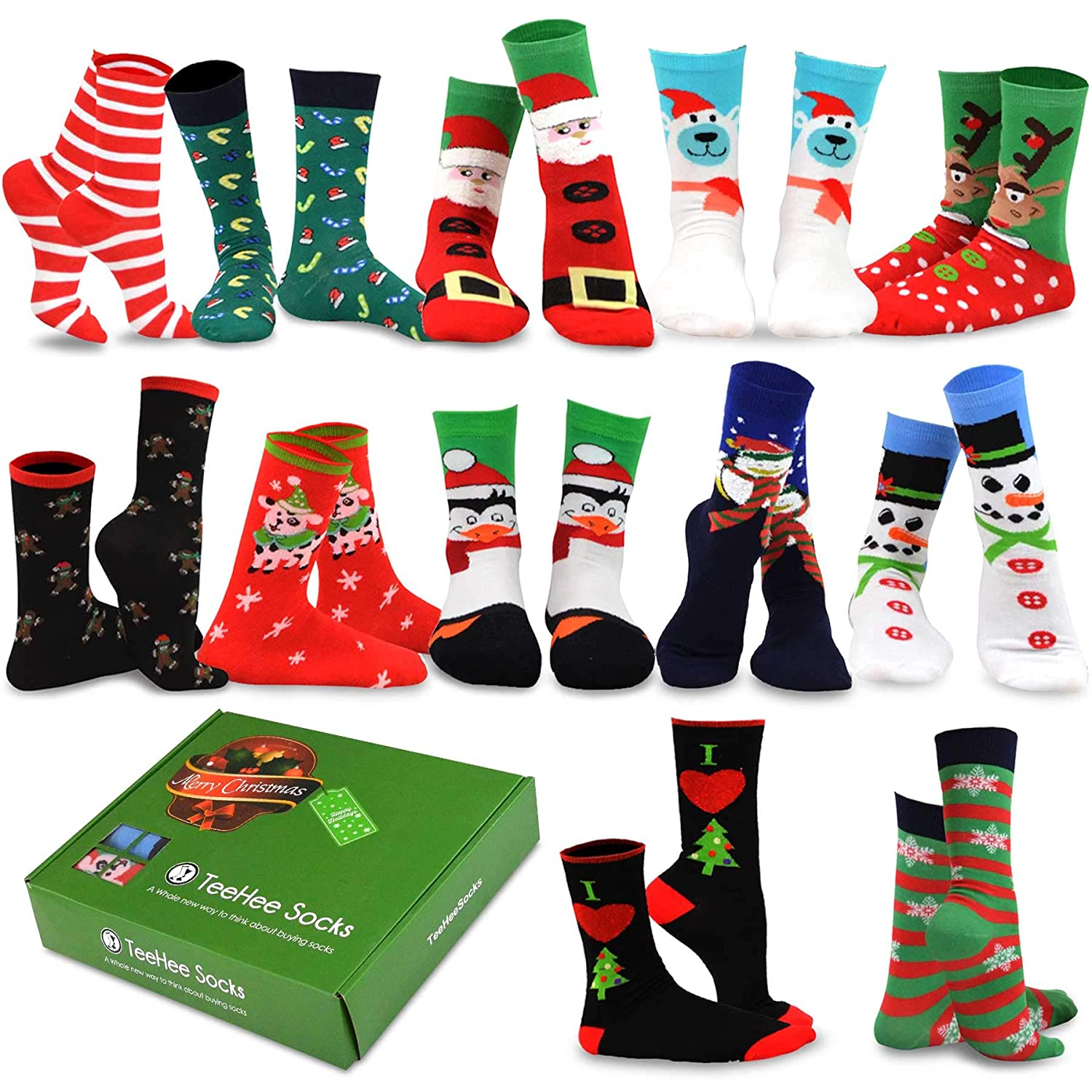 TeeHee Christmas Holiday 12-Pack Gift Socks for Women with Gift Box S/11890-12C07 9-11