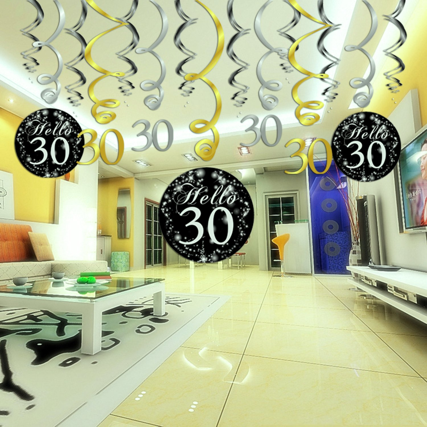Number 30 Table Confetti 30 Birthday Decorations,Konsait Gold Black Silver Decor 30th Birthday Hanging Swirl Party Streamers Pack Ceiling Decor for 30 Birthday Party Decorations Favor Supplies 1.05oz 15 Counts