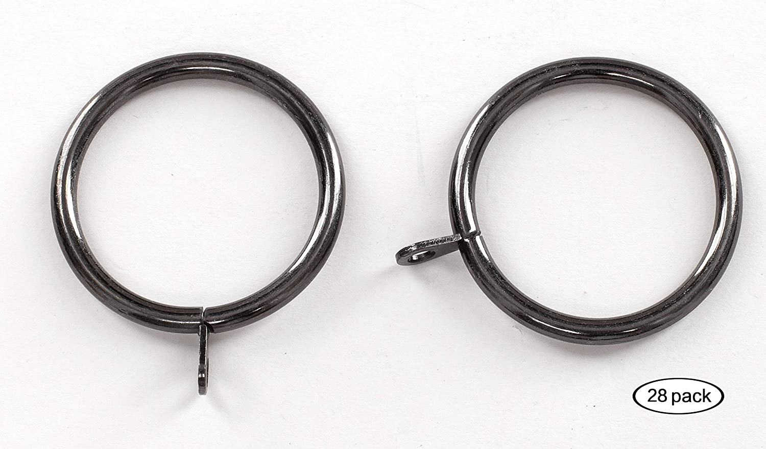 Drapery Rings Inner Diameter Pewter 1 1//4 Pole Metal with Eyelets 1.5 38mm Fits Up to 1.25 Inch Black//Brown 14PC// 2 inch, Pewter Curtainsville 14 pcs Curtain Rod Ring