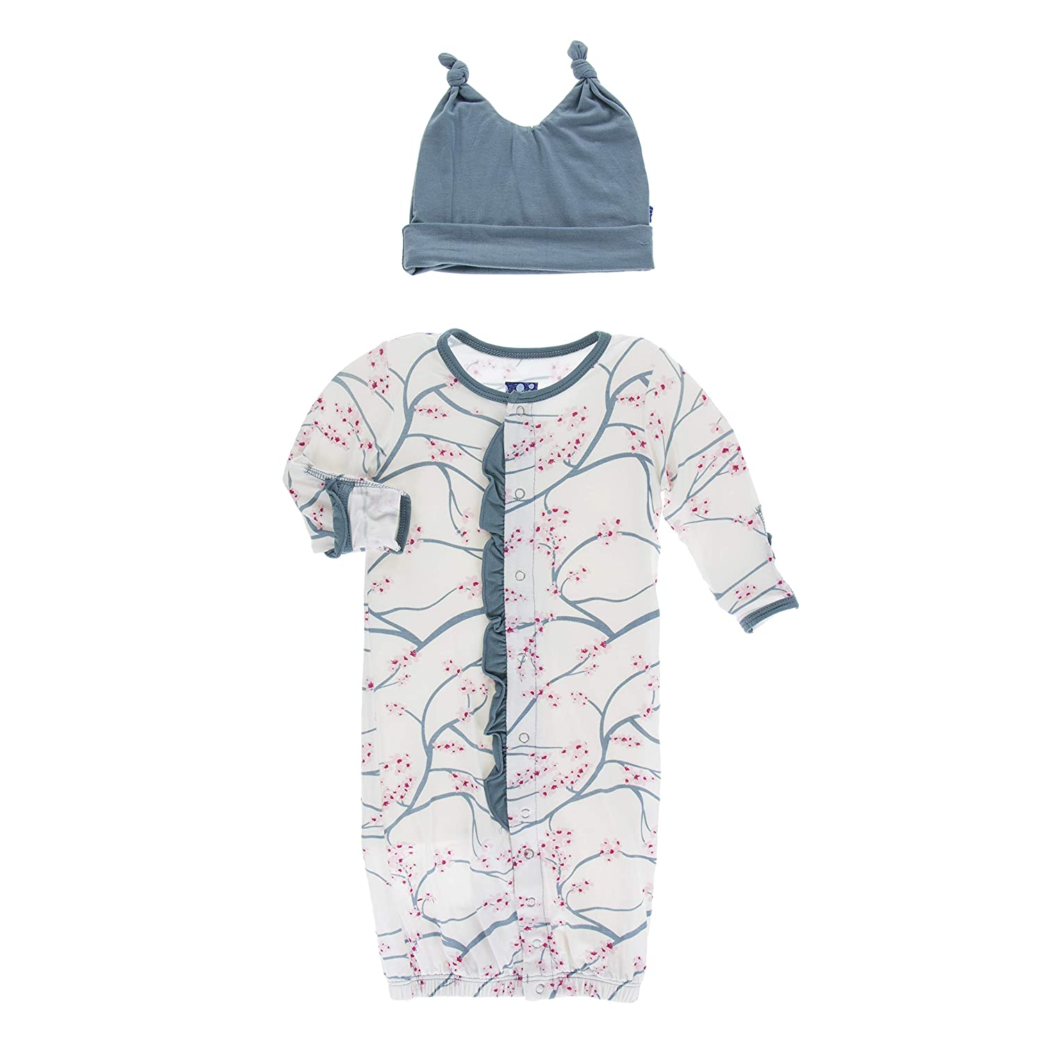 KicKee Pants Print Ruffle Layette Gown Converter and Double Knot Hat Set in Natural Japanese Cherry Tree 3-6 Months