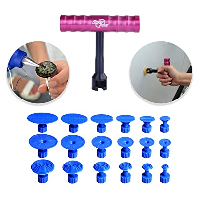 Fly5D 19Pcs Car Body Paintless Dent Repair Tools PDR Puller Grip T-Handle Dent Puller Silde Hammer Mini T-bar with 18Pcs Puller Tabs: Automotive [5Bkhe1512378]