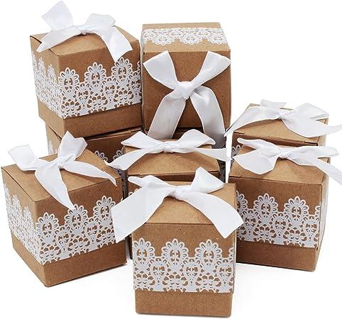 Caja de regalo Candy de papel Kraft, caja de almohadas para bodas, fiestas de cumpleaños, 50 unidades, cuadrado: Amazon.es: Hogar
