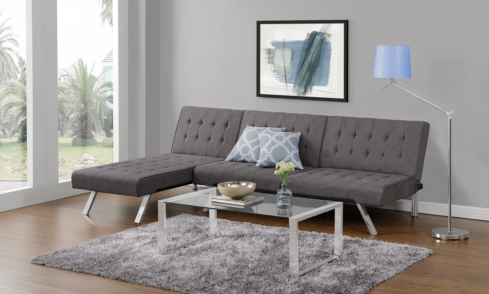 DHP Emily Linen Chaise Lounger, Stylish Design with Chrome Legs, Grey by DHP (Image #5)