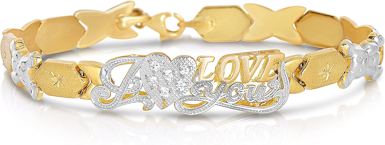 """Floreo 10k Two Tone Gold Stampato XOXO Hugs and Kisses with Bear and Heart """"I Love You"""" ID Bracelet"""