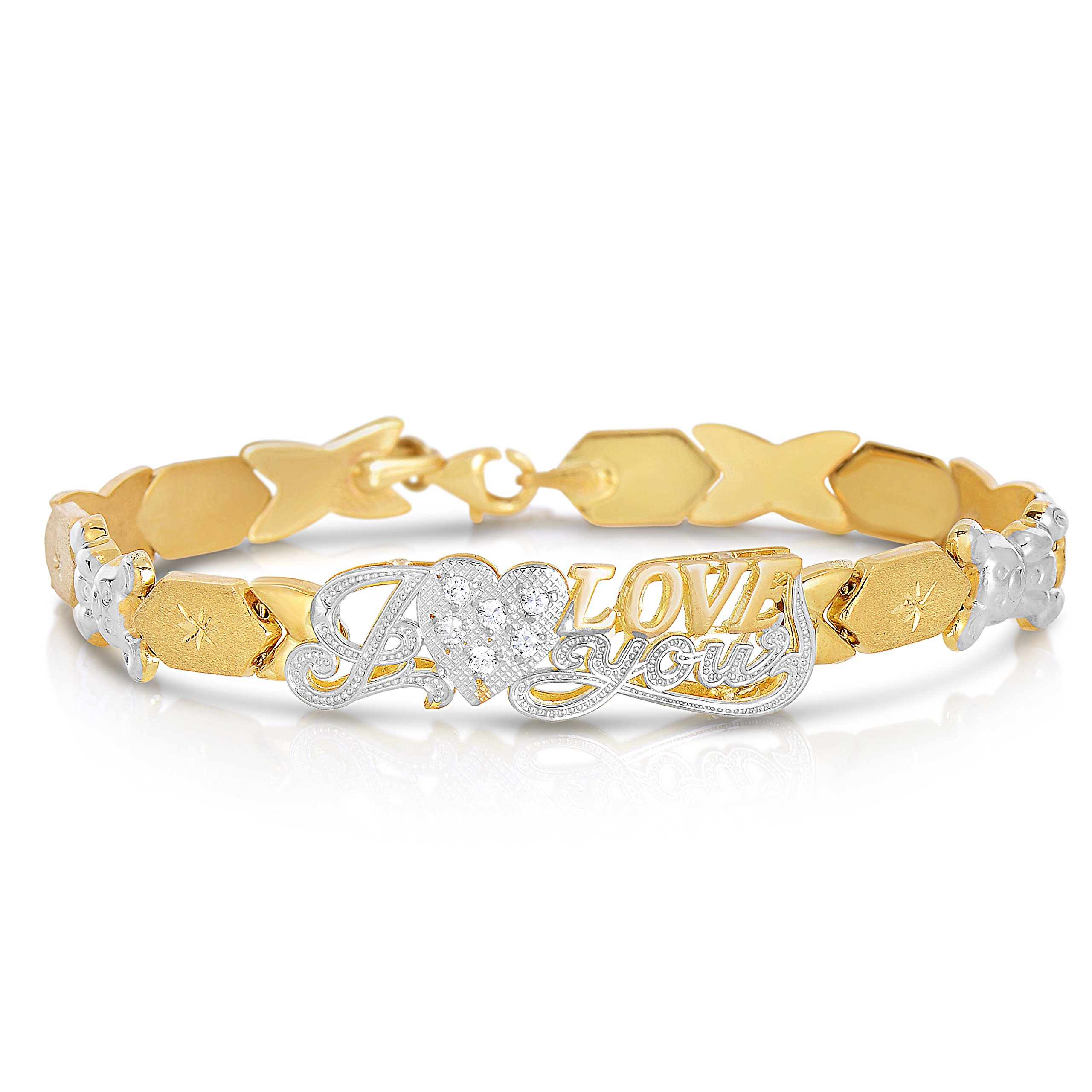 """7 Inch 10k Two-Tone Gold Stampato Xoxo Hugs and Kisses with Bear and Heart """"I Love You"""" ID Bracelet"""