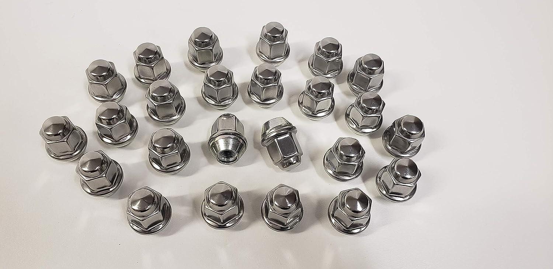 24 Pack Lug Nuts 1//2 Inch Stainless Steel Capped Acorn Bulge Trailer Wheel Rim