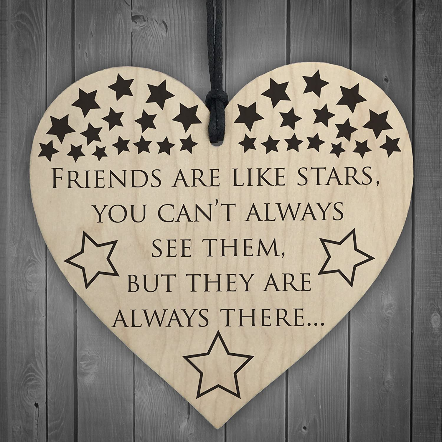 Red Ocean Friends Are Like Stars Always There Wooden Hanging Heart Friendship Plaque Sign