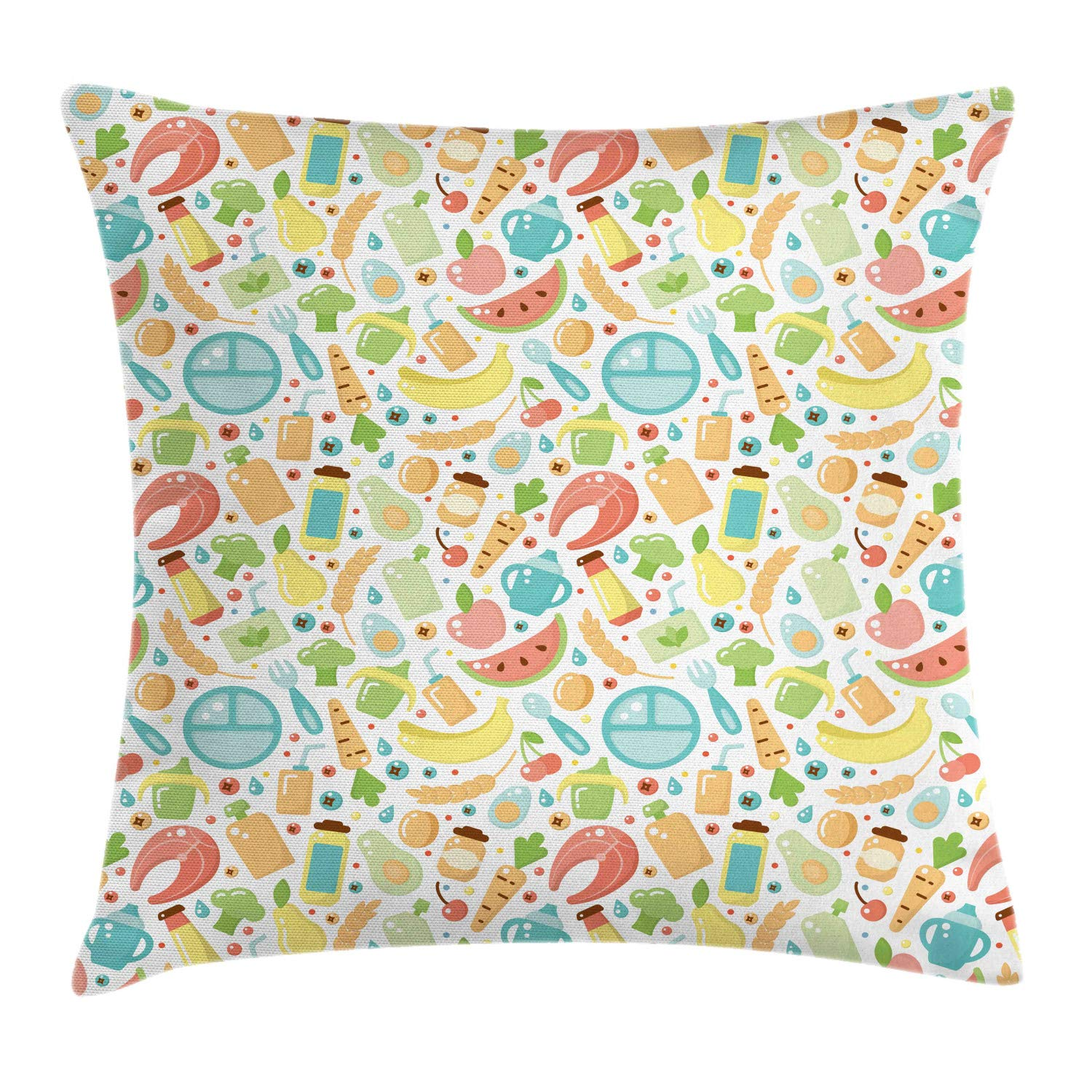Ambesonne Salmon Throw Pillow Cushion Cover, Baby Food Watermelon Banana Apple Nursery Theme Colorful Repetition Graphic, Decorative Square Accent Pillow Case, 24'' X 24'', Multicolor by Ambesonne