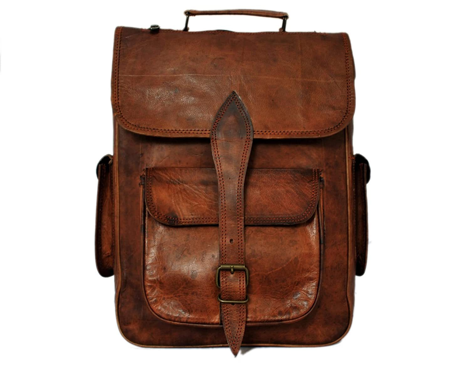 Amazon.com | Genuine Leather Laptop Backpack Rucksack for College ...