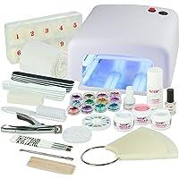 Kit Debutant Professionnel pour Pose de Gel UV Blanc-Nagelset idéale avec l'art d'ongle, lampe UV et UV Gel Starter