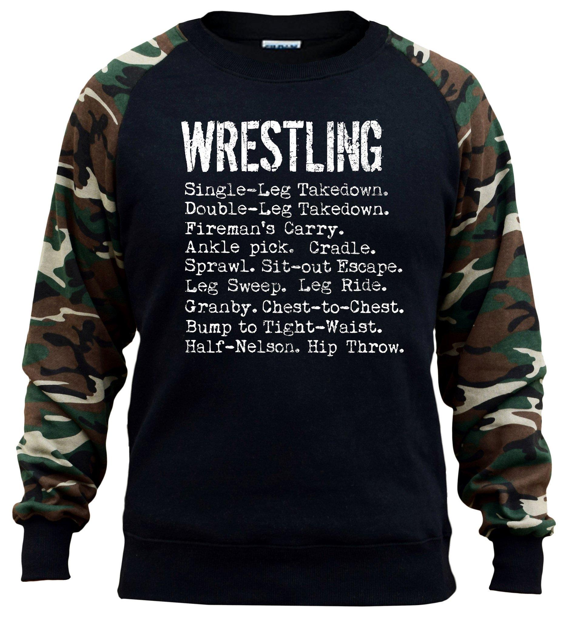 Men's Wrestling Moves Black/Camo Raglan Baseball Sweatshirt Large Black by Interstate Apparel