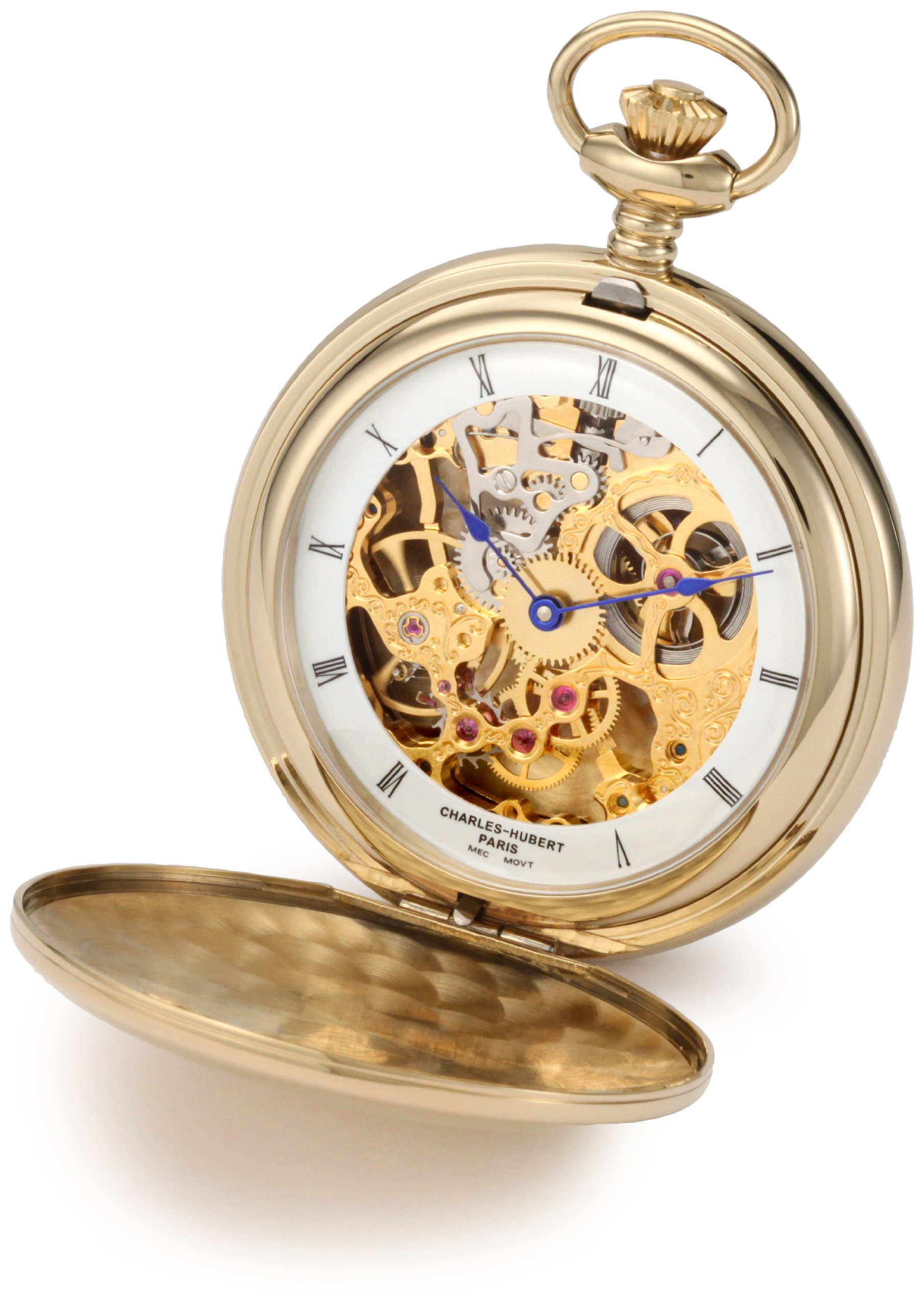 CDM product Charles-Hubert, Paris 3904-G Premium Collection Gold-Plated Stainless Steel Polished Finish Double Hunter Case Mechanical Pocket Watch big image